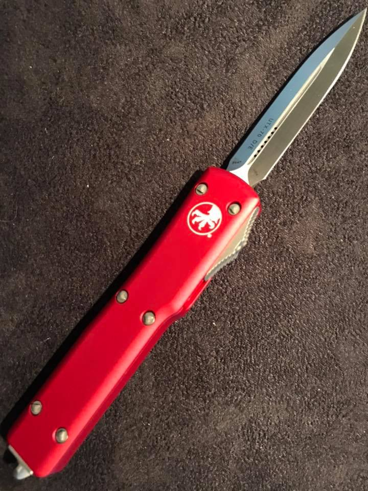 Microtech U T X  70 Red Handle Satin Blade