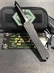 Heretic Manticore X Custom Carbon Fiber with Mirror Polished Tanto Blade