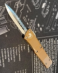 Microtech Trodon Double Edge Tan Handle Stonewashed Blade
