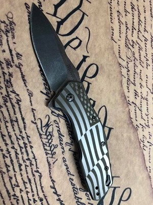 Kershaw Eris Assisted Opening American Flag Engraved